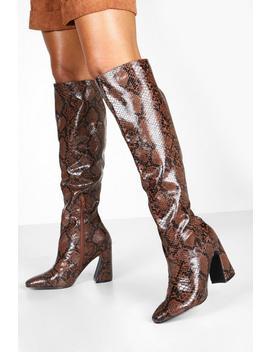 Flare Heel Snake Knee Boots by Boohoo