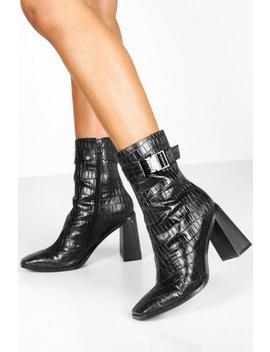 Croc Buckle Detail Block Heel Sock Boots by Boohoo