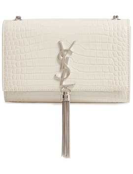 Small Kate Croc Embossed Leather Shoulder Bag by Saint Laurent