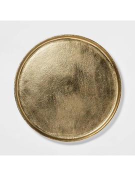 """17.6"""" Brass Round Tray Gold   Threshold™ by Shop Collections"""