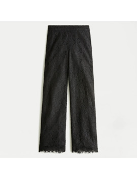 Petite High Rise Pull On Peyton Wide Leg Pant In Lace by J.Crew