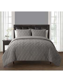 Vcny Lattice Embossed Duvet Set   Twin/King   Grey   3 Piece by Vcny