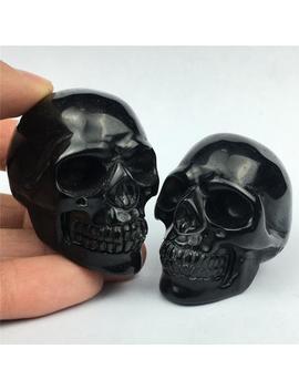 "2"" Obsidian Crystal Skull Figurine Crystal Statue Decor Reiki Healing by Etsy"
