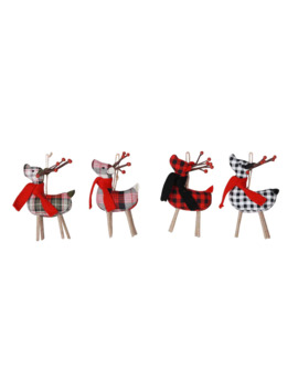 Assorted Plaid Fabric Reindeer Ornament By Ashland® by Ashland
