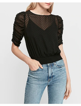 Ruched Puff Sleeve Blouse by Express