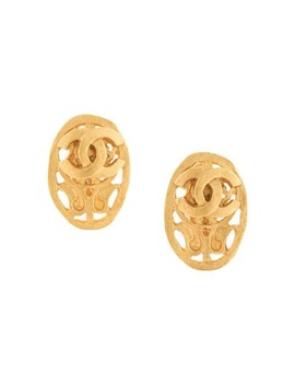 1995 Cc Oval Clip On Earrings by Chanel Pre Owned