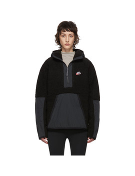 Black Sherpa Fleece Pullover by Nike
