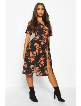 Floral Printed Woven Belted Midi Dress by Boohoo