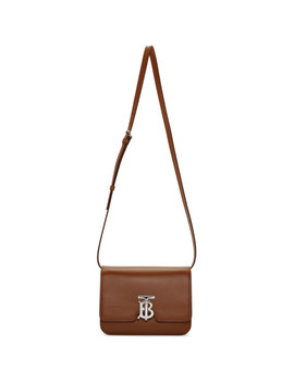 Brown Leather Small Tb Bag by Burberry