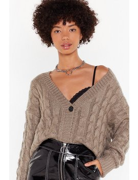 Cable To Love Knit Button Down Cardigan by Nasty Gal