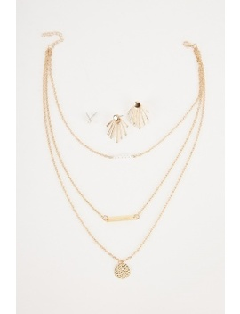 Layered Necklace And Earrings Set by Everything5 Pounds