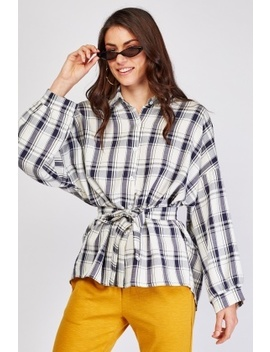 Tie Up Waist Checkered Shirt by Everything5 Pounds