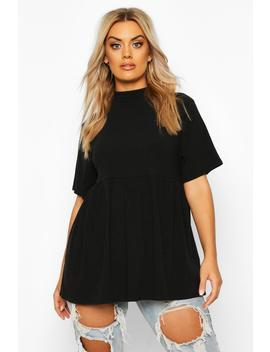 Plus High Neck Rib Knitted Smock Top by Boohoo
