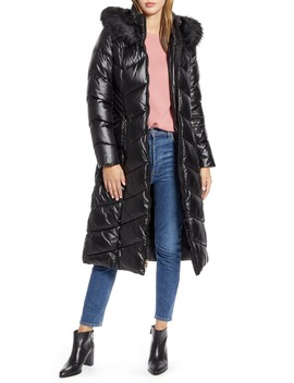 Long Quilted Parka With Faux Fur Trim by Gallery