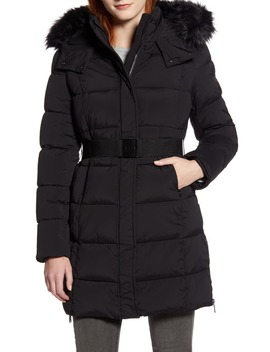 Removable Faux Fur Trim Belted Puffer Coat by Sam Edelman