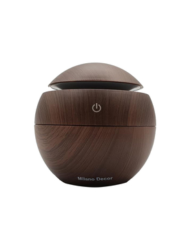Milano Decor Usb Aromatherapy Diffuser With 10 Pack Of Aroma Oils Dark Wood Grain by Milano