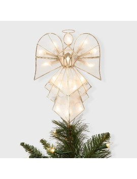 "11.75"" Lit Capiz Gold Angel Tree Topper   Wondershop™ by Wondershop"