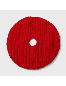 "18"" Mini Cable Knit Christmas Tree Skirt Red   Wondershop™ by Wondershop"