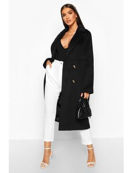 Brushed Double Breasted Wool Look Coat by Boohoo