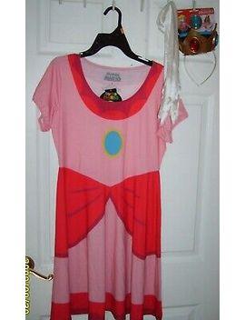 Super Mario Princess Peach Medium Costume W/ Crown Gloves & Stick On Amulet by Spirit