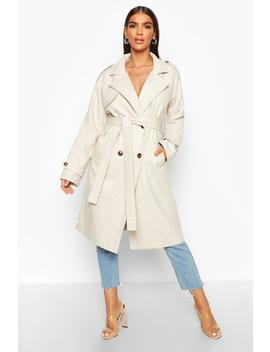 Herringbone Wool Look Trench by Boohoo
