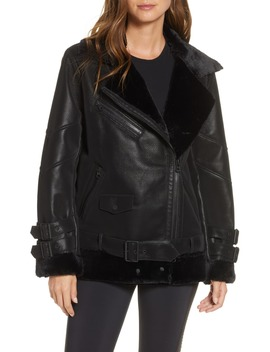 Violetta Faux Shearling Moto Jacket by Blanc Noir