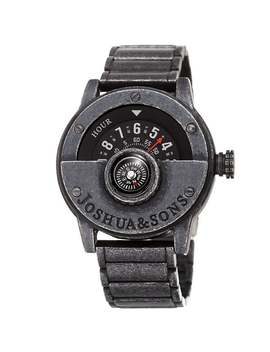 Joshua & Sons Men's Rotating Wheel Compass Antique Style Bracelet Watch by Joshua & Sons
