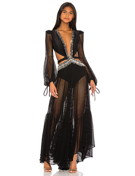 X Revolve Cutout Long Sleeve Gown In Black by Pat Bo