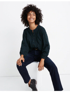 Plaid Balloon Sleeve Peasant Top by Madewell