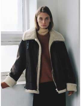 Loose Fit Line Eco Shearling Jacket Brown by Dunst For Women