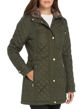 Quilted Faux Fur Trim Hooded Walker Coat by Weatherproof