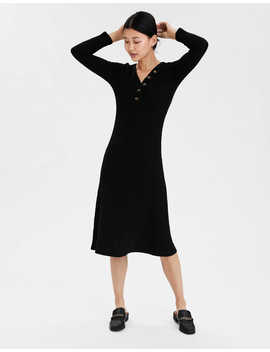 Ae Knit Long Sleeve Henley Neck Dress by American Eagle Outfitters