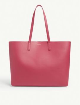 Logo Leather Tote by Saint Laurent