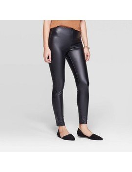 Women's Slim Fit Mid Rise Faux Leather Leggings   A New Day™ Black M by A New Day