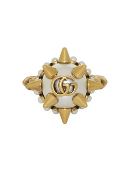 Gold Studded Pearl Ring by Gucci