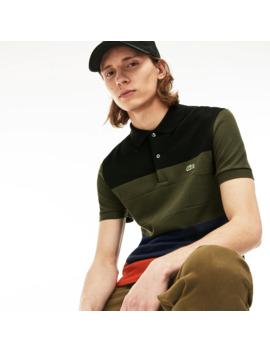 Men's Regular Fit Colorblock Cotton Piqué Polo by Lacoste