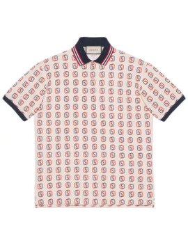 Oversize Polo With Interlocking G Print by Gucci