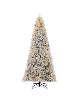 12 Ft. Pre Lit Led Flocked Lexington Pine Pencil Artificial Christmas Tree With 1100 Warm White Lights by Home Accents Holiday