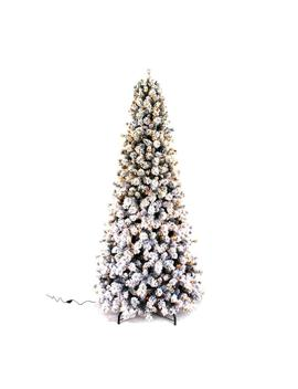 9 Ft. Pre Lit Led Banff Pine Flocking Quick Set Artificial Christmas Tree With 1000 Warm White Lights by Home Accents Holiday