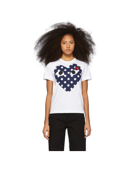 White & Red Polka Dot Heart T Shirt by Comme Des GarÇons Play