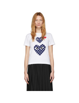 White Polka Dot Double Heart T Shirt by Comme Des GarÇons Play