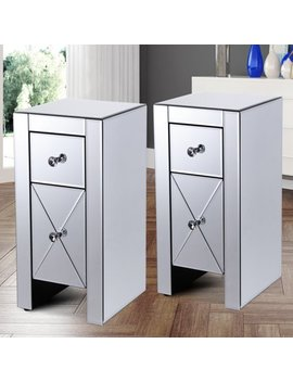 Jaxpety Set Of 2 Silver Mirrored 2 Drawer Crystal Accent Table Nightstand Side Table Great For Kids Room by Jaxpety