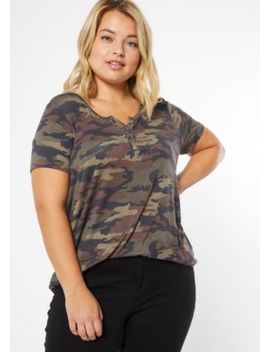 Plus Camo Print Button Down Henley Tee by Rue21