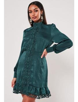 Teal Satin Ladder Lace Insert Shirt Dress by Missguided
