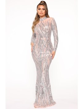 Strut Like Me Sequin Maxi Dress   Blush/Silver by Fashion Nova