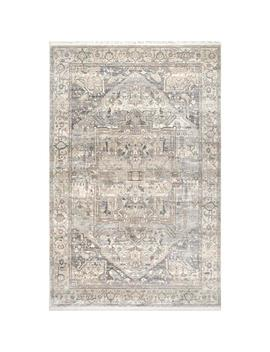 Ethel Medallion Fringe Silver 7 Ft. X 9 Ft. Area Rug by Nu Loom