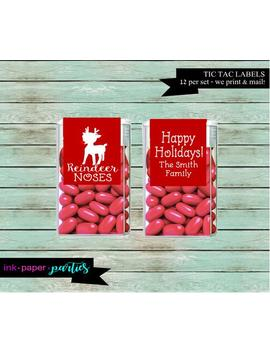 Christmas Holiday Reindeer Noses Party  Candy Tic Tacs Mints Mint Labels Favor Favors   We Print &Amp; Mail To You!   by Etsy