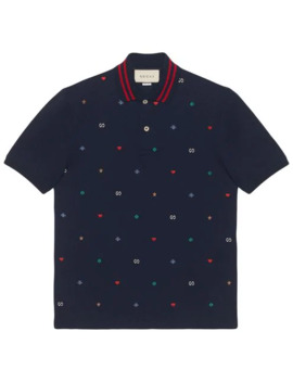 Polo With Symbols Embroidery by Gucci