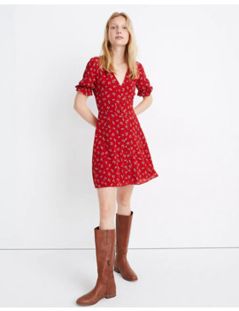 Silk Ruffle Sleeve Button Front Dress In Little Lilies by Madewell