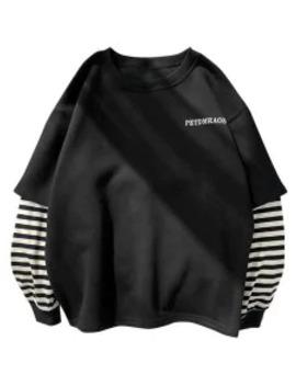 Popular Casual Letter Striped Print Sweatshirt   Black M by Zaful